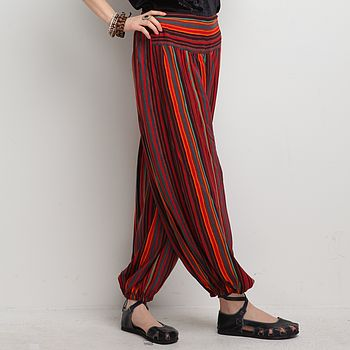 High Waist Harem Trousers Red-Stripe