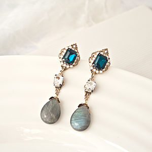 Jewelled Drop Earrings With Gem Stones - earrings