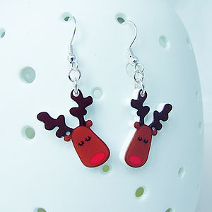 Rudolph The Reindeer Christmas Earrings - earrings