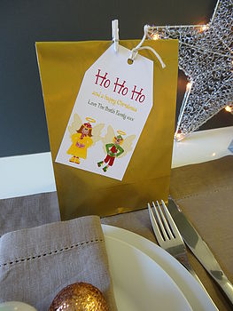 Christmas party bags and tags
