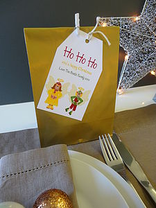 Eight Personalised Christmas Party Bags - table decorations
