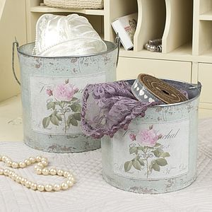 Set Of Two Style Vintage Rose Storage Buckets - bins & buckets