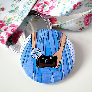 Girl With Camera Illustrated Compact Mirror - beauty & pampering