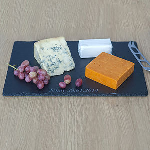 Personalised Slate Cheese Board And Knives - kitchen
