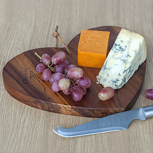Personalised Wooden Cheese Board And Knife