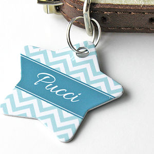 Personalised Chevron Pet Tag Star Shaped