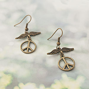 Wings Of Peace Hook Earrings - earrings