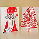 Set Of Two Father Christmas And Tree Cards