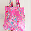 Oilcloth Shopper Bag In Pink Flowerburst