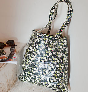 Oilcloth Shopper Bag In Vintage Floral Print - shopper bags
