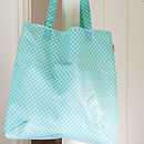 Oilcloth Shopper Bag In Turquoise Spot Print