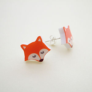Fox Acrylic Fashion Stud Earrings - earrings