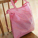 Oilcloth Shopper Bag In Pink Spotty Print