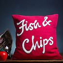 'Fish And Chips' Hand Embroidered Cushion