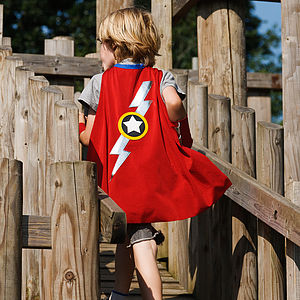 Lightening Bolt Cape   Red - baby & child