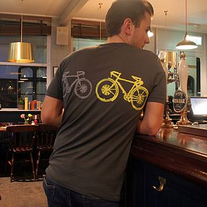 Blinking Bike Bamboo T Shirt Hand Printed