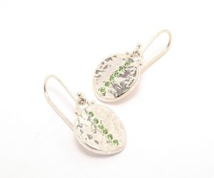 Green Tsavorite Silver Disc Drop Earrings