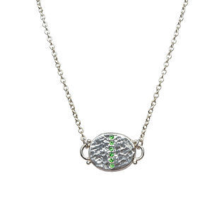 Green Tsavorite Silver Disc Pendant - necklaces & pendants