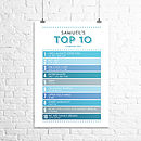 Personalised Top Ten Singles Chart Print