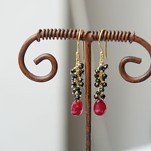 Sparkly Black Spinel And Ruby Drop Earrings - women's jewellery