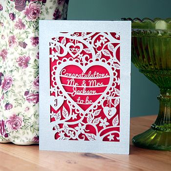 Personalised Papercut Engagement Card