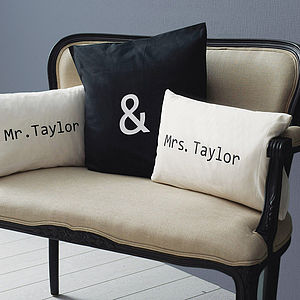 Personalised 'Mr & Mrs' Cushion Cover Set - gifts by budget