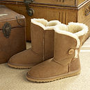 Sheepskin Boots With Button Detail