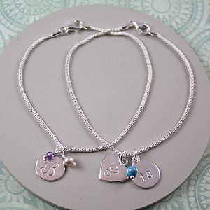 Silver Bracelet With Birthstone And Initial - baby & child