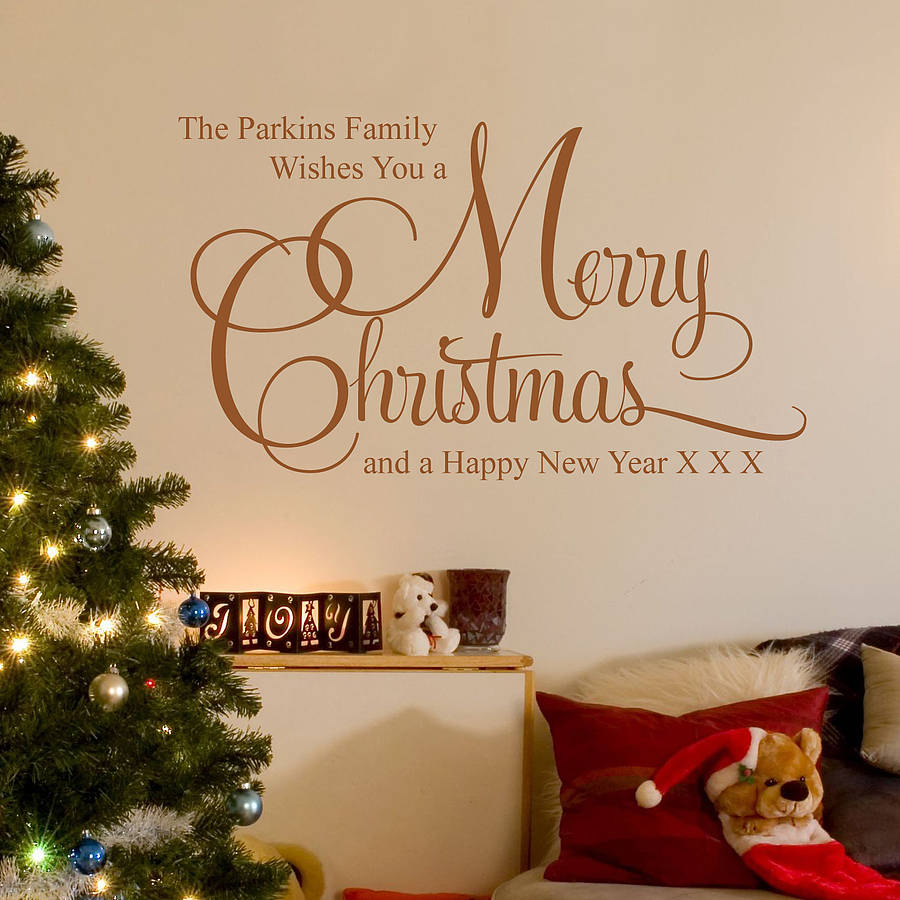 Wall Decorating For Christmas : Personalised christmas family wall stickers by parkins