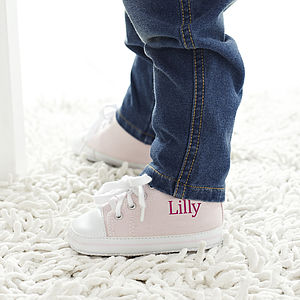 Personalised Baby Pink High Top Trainers - gifts for babies