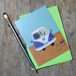 Blue Camper Van Postcards