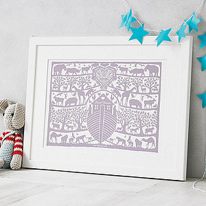 Personalised Noah's Ark Heart Print - baby's room