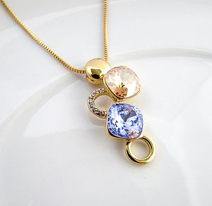 Gold Citrine And Lavender Gemstone Necklace - pendants