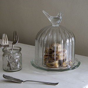 Small Bird Cake Dome And Plate