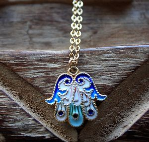 Cloisonne Multicoulored Hamsa Necklace - women's jewellery