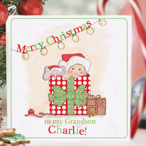 Personalised Baby's First Christmas Card 'Surprise!'