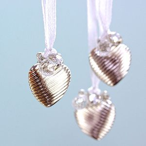 Silver Textured Mini Heart Bauble