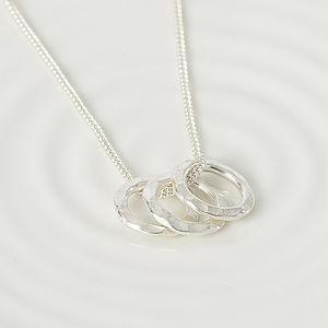 Triple Ring Sterling Silver Necklace