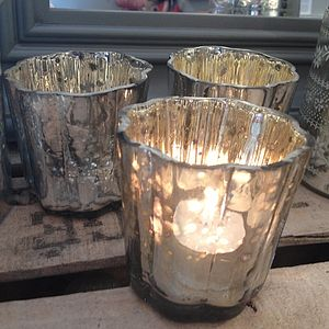 Fluted Silver Votive - votives & tea light holders