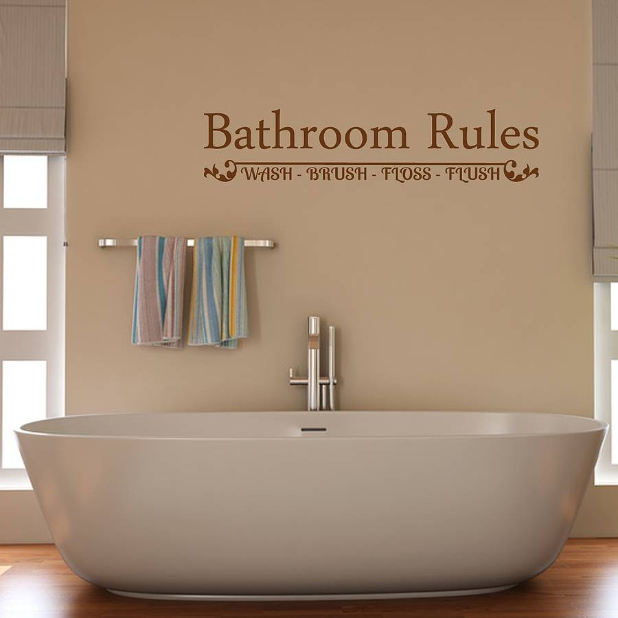 Bathroom Rules Wall Sticker   Brown. bathroom rules wall sticker by mirrorin   notonthehighstreet com