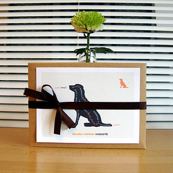 kraft gift box with labrador retriever notecards