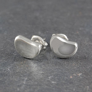 Bean Sterling Silver Stud Earrings