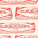 Tunnock's Caramel Wafer Repeat Tea Towel - Close-Up