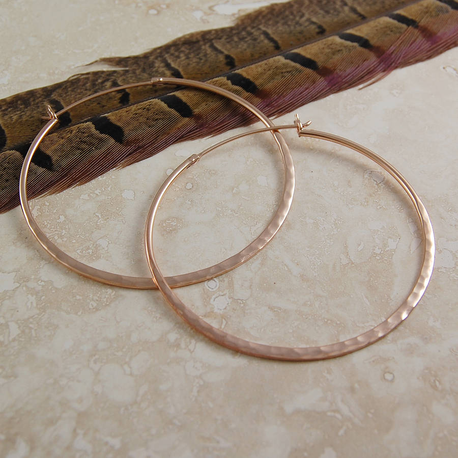 Battered Rose Gold Large Hoop Earrings