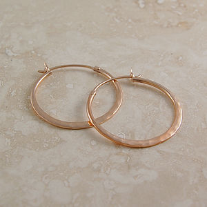 Battered Small Rose Gold Hoop Earrings - earrings