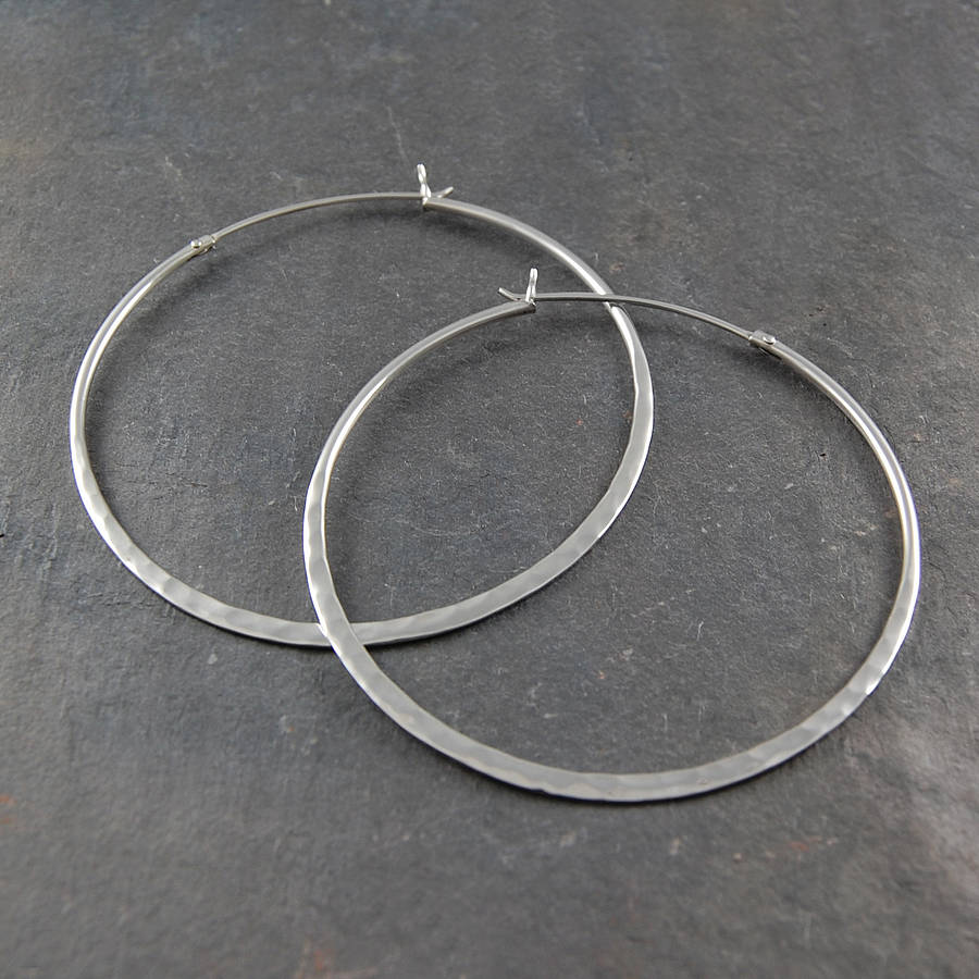 Battered Sterling Silver Large Hoop Earrings