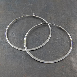 Battered Sterling Silver Large Hoop Earrings - earrings