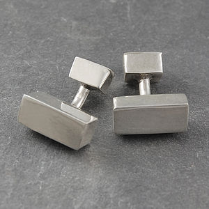 Rectangular Sterling Silver Men's Cufflinks - cufflinks