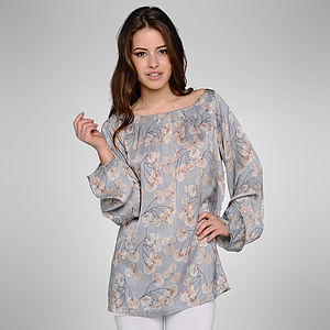 Skeletal Leaf Silk Top - tunics