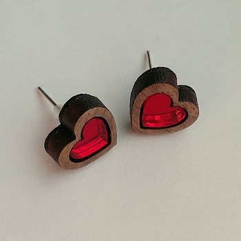 Walnut And Acrylic Love Heart Studs